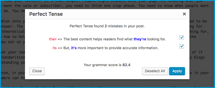 Image of Perfect Tense showing errors in post